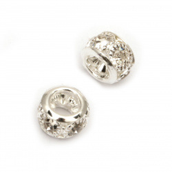 Metal charm bead, roung with clear crystals 8.5x8.5x6 mm hole 3.5 mm color silver - 5 pieces
