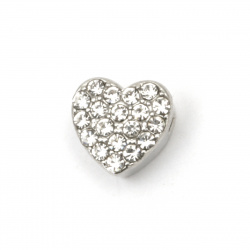Glamorous heart, metal bead with crystals for stringing 8.5x8x5 mm hole 1.5 mm color silver - 5 pieces