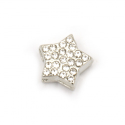 Lustrous star, metal bead with crystals 10x11x5 mm hole 2 mm color silver - 2 pieces