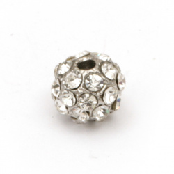 Ball shaped metal bead with crystals, zinc alloy 9x7 mm hole 2 mm color silver