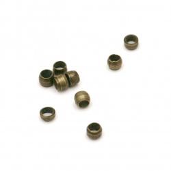 Мънисто метал топче 2x2 мм дупка 1 мм фасетирано цвят антик бронз -200 броя