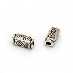 Мънисто метал цилиндър 10.5x5x5 мм дупка 2.5 мм цвят сребро -20 броя