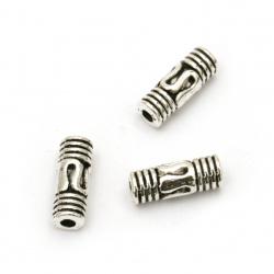 Мънисто метал цилиндър 8.5x3 мм дупка 1.5 мм цвят сребро -50 броя