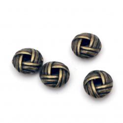 Мънисто метал овал плетеница 6x3 мм дупка 2 мм цвят антик бронз -20 броя