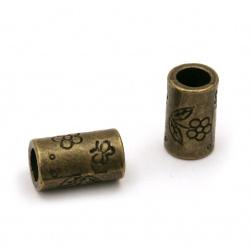 Мънисто метал цилиндър 10.5x6 мм дупка 4 мм цвят антик бронз -10 броя