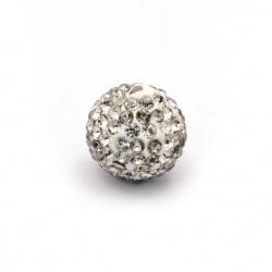 Мънисто шамбала полимер с кристали 16 мм с една дупка 1.5 мм бяло