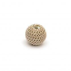 Мънисто метална обшивка топче 10 мм дупка 2 мм цвят крем със златна нишка
