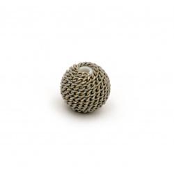Мънисто метална обшивка топче 10 мм дупка 2 мм цвят сив със златна нишка