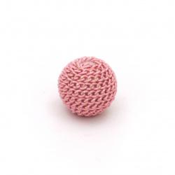 Margele metalica placare bila10 mm gaură 2 mm culoare roz deschis cu fir aur