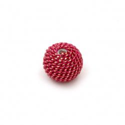 Margele metalica placare bila10 mm gaură 2 mm culoare roz închis cu fir aur