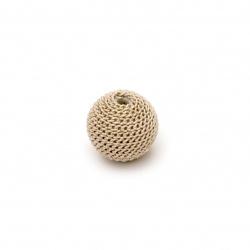 Мънисто метална обшивка топче 12 мм дупка 2.5 мм цвят крем със златна нишка