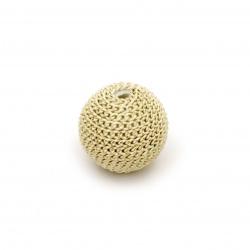 Мънисто метална обшивка топче 12 мм дупка 2.5 мм цвят бяло злато със златна нишка