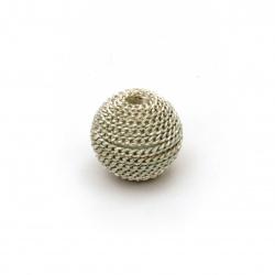 Мънисто метална обшивка топче 12 мм дупка 2.5 мм цвят сребро със златна нишка