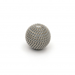 Мънисто метална обшивка топче 12 мм дупка 2.5 мм цвят сив със златна нишка