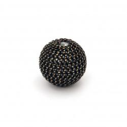 Мънисто метална обшивка топче 12 мм дупка 2.5 мм цвят черен със златна нишка
