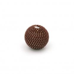 Мънисто метална обшивка топче 12 мм дупка 2.5 мм цвят кафяв със златна нишка