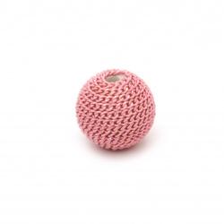 Мънисто метална обшивка топче 12 мм дупка 2.5 мм цвят розов светло със златна нишка