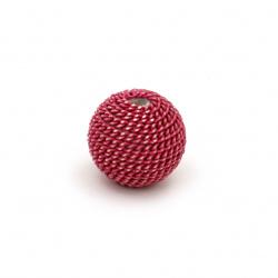 Мънисто метална обшивка топче 12 мм дупка 2.5 мм цвят розов тъмно със златна нишка