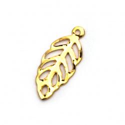 Κρεμαστό μεταλλικό φύλλο 13,5x6x0,6 mm τρύπα 1 mm χρώμα χρυσό -50 τεμάχια