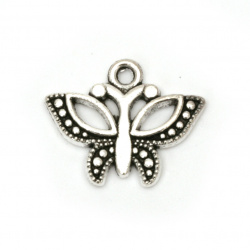 Висулка метална пеперуда 16x20x2.5 мм дупка 2 мм цвят сребро -10 броя