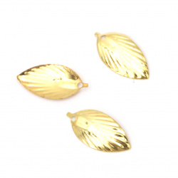 Висулка метал листо 18x9x2 мм дупка 1 мм цвят злато -50 броя