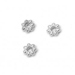 Мънисто метал шайба 4x1.5 мм дупка 1 мм цвят сребро -50 броя