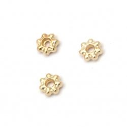 Margele metalica saibă 4x1,5 mm gaură 1 mm culoare auriu -50 bucăți