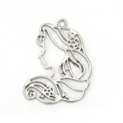 Висулка метална момиче 40x38.5x2.5 мм дупка 2 мм цвят сребро -1 брой