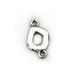 Свързващ елемнт метал овал 10x17.5x2 мм дупка 2 мм NF цвят сребро -10 броя