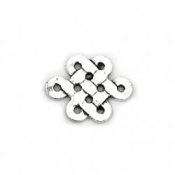Свързващ елемент метал фигурка 18x14x2 мм дупка 1.5 мм цвят сребро -10 броя