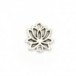 Свързващ елемент метал цвете Лотос 16x15x2 мм дупка 1.5 мм цвят старо сребро -10 броя