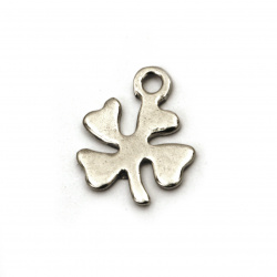 Steel pendant beads clover 10.5x8.5x0.8 mm hole 1 mm color silver - 10 pieces
