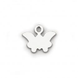 Висулка стомана пеперуда 8x9x1 мм дупка 1 мм цвят сребро -10 броя