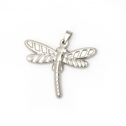 Stainless steel pendant 304  dragonfly 30x36x3 mm hole 8x5 mm color silver