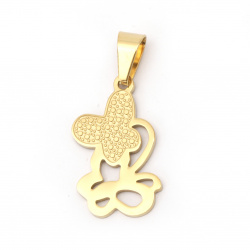 Necklace pendant stainless steel 304 butterfly 28x16x1.2 mm hole 8x4 mm color gold