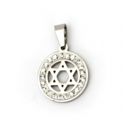 Stainless steel pendant extra quality star 27x18x2 mm color silver