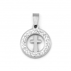 Pendant stainless steel extra quality cross 27x18x2 mm color silver