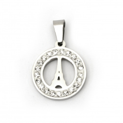 Pendant stainless steel extra quality Eiffel Tower 27x18x2 mm color silver