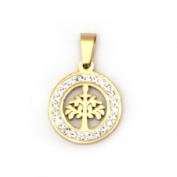 Stainless steel pendant extra quality Tree of life 27x18x2 mm color gold