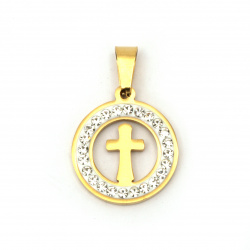 Pendant steel stainless extra quality cross 27x18x2 mm color gold