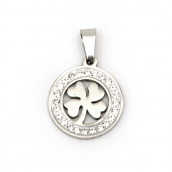 Stainless steel pendant extra quality clover 27x18x2 mm color silver