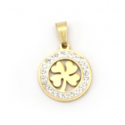 Stainless steel pendant extra quality clover 27x18x2 mm color gold