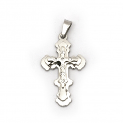 Pendant stainless steel extra quality cross 33x16x4 mm color silver