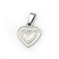 Pendant stainless steel extra quality heart 23x15x2 mm color silver
