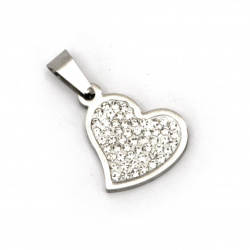 Pendant steel stainless extra quality heart with tiny crystals 25x16x3 mm color silver