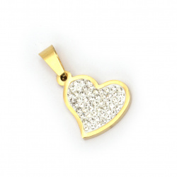 Pendant steel stainless extra quality heart with small crystals 25x16x3 mm color gold