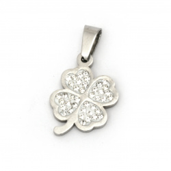 Pendant steel stainless extra quality four-leaf clover with crystals 27x16x3 mm color silver