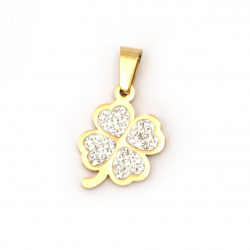 Pendant steel stainless extra quality clover with tiny crystals 27x16x3 mm color gold