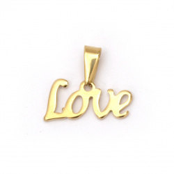 Stainless steel pendant extra quality with letters LOVE 17x20x1.5 mm gold color
