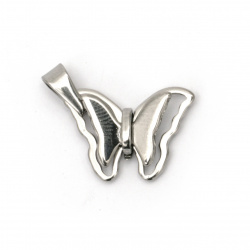 Pendant steel stainless extra quality butterfly for DIY necklaces 37x20x5 mm color silver